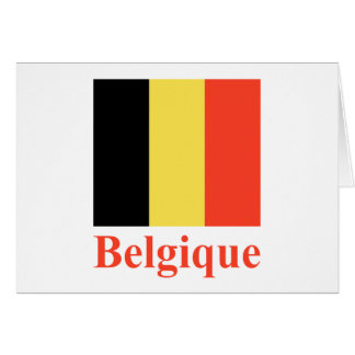 Belgium Flag with Name in French Card