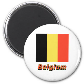 Belgium Flag with Name 2 Inch Round Magnet