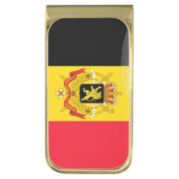 Belgium glossy flag gold finish money clip