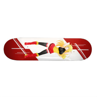 Belgium Manga girl dressed in Flag - Belgian Skateboard Deck