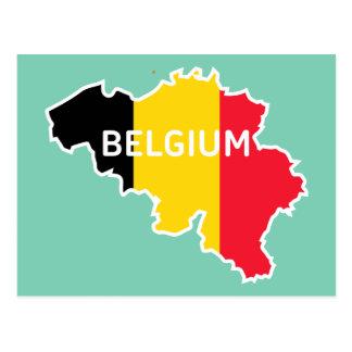Belgium Map and Flag Postcard