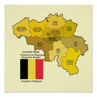 Belgium Map and Flag Poster