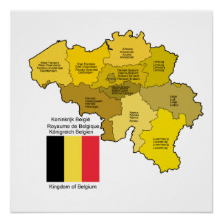 Belgium Map and Flag Perfect Poster