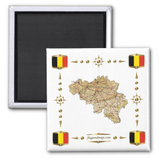 Belgium Map + Flags Magnet
