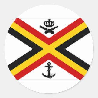Belgium Naval Ensign Flag Classic Round Sticker