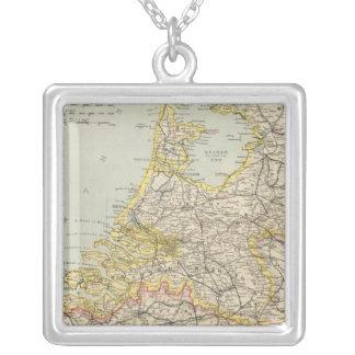 Belgium, Netherlands 2 Square Pendant Necklace