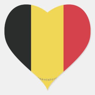 Belgium Plain Flag Heart Sticker