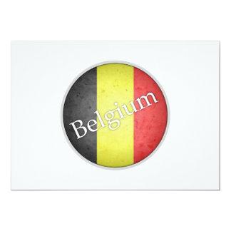 Belgium Round Grunge Flag Badge Card