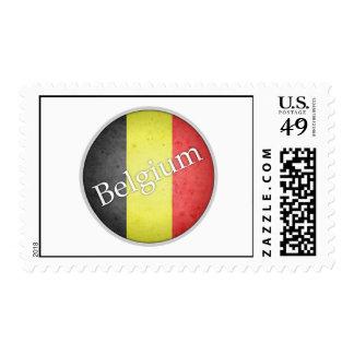 Belgium Round Grunge Flag Badge Postage Stamps