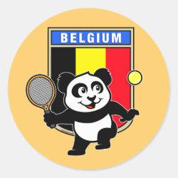 Round Sticker with Belgian Tennis Panda design