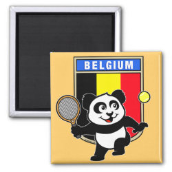 Square Magnet with Belgian Tennis Panda design