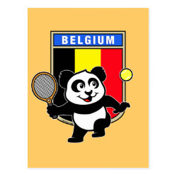 Postcard with Belgian Tennis Panda design
