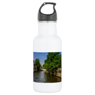 Belgium Travel Photography, Bruges Canal Stainless Steel Water Bottle