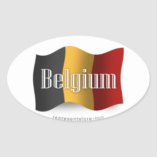 Belgium Waving Flag Oval Sticker