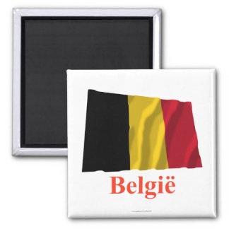 Belgium Waving Flag with Name in Dutch Magnet