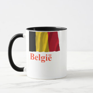 Belgium Waving Flag with Name in Dutch Mug