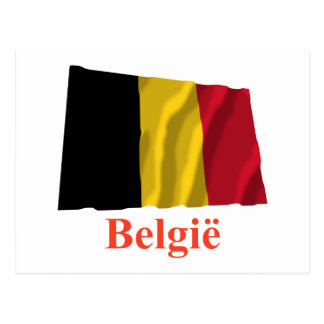 Belgium Waving Flag with Name in Dutch Postcard