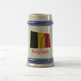 Belgium Waving Flag with Name in French Beer Stein