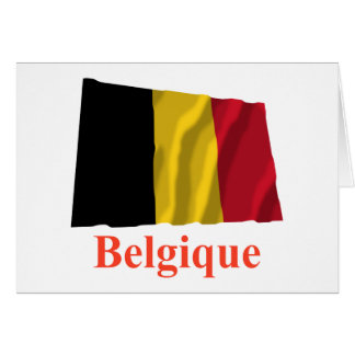 Belgium Waving Flag with Name in French Card