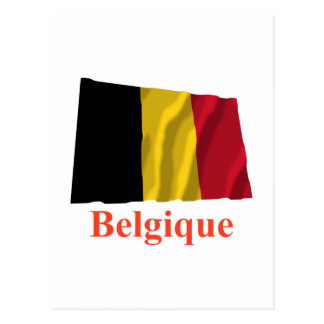 Belgium Waving Flag with Name in French Postcard