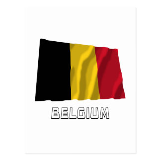 Belgium Waving Flag with Name Post Card