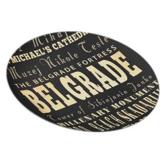 Belgrade City of Serbia Typography Art Dinner Plate