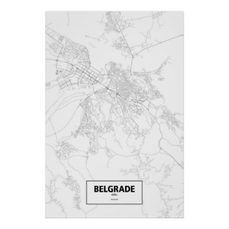 Belgrade, Serbia (black on white) Poster