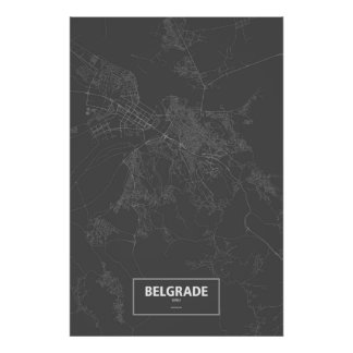 Belgrade, Serbia (white on black) Print