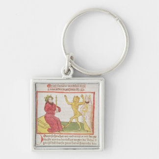 Belial dances before King Solomon Silver-Colored Square Keychain
