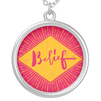 Belief - Hand Lettering Typography Design Silver Plated Necklace
