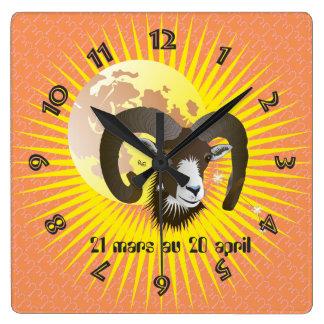Bélier 21 mars 20 Horloges au avril Reloj Cuadrado