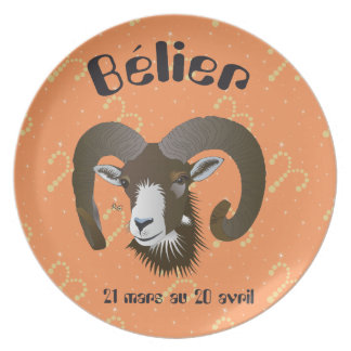 Bélier 21 Mars outer 20 avril Assiettes Melamine Plate