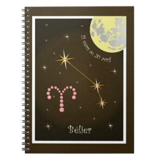 Bélier 21 Mars outer 20 avril note booklet Spiral Notebook