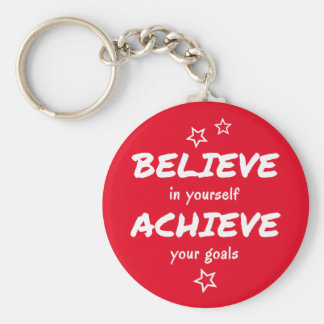 Believe achieve motivational red keychain