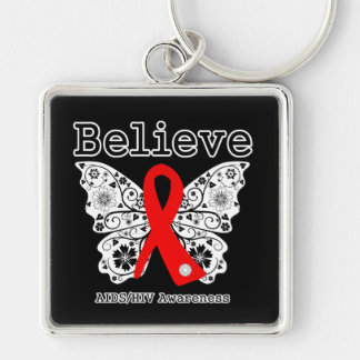 Believe AIDS Awareness Silver-Colored Square Keychain