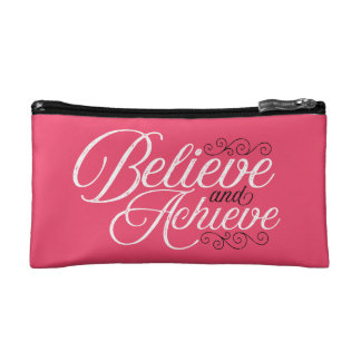 Believe and Achieve Pink Cosmetic Bag