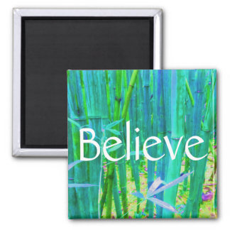 Believe Bamboo Blue and Green 2 Inch Square Magnet