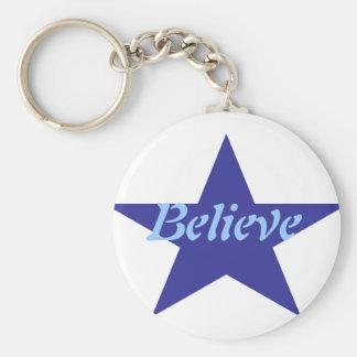 Believe Basic Round Button Keychain