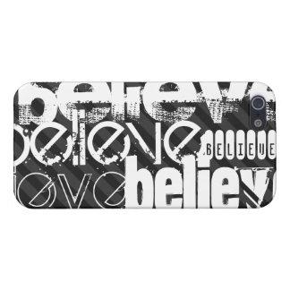 Believe; Black & Dark Gray Stripes Cover For iPhone SE/5/5s