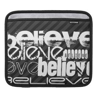 Believe; Black & Dark Gray Stripes iPad Sleeves