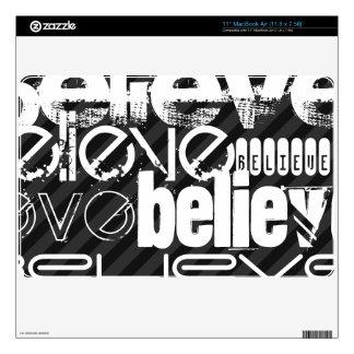 "Believe; Black & Dark Gray Stripes 11"" MacBook Air Decal"