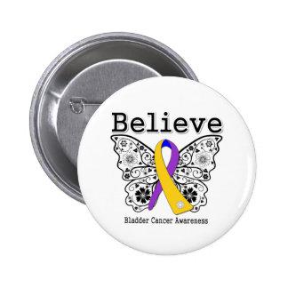 Believe - Bladder Cancer Butterfly Pinback Buttons