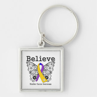 Believe - Bladder Cancer Butterfly Silver-Colored Square Keychain