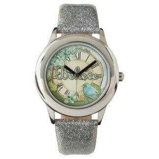 BELIEVE bluebird and floral girly design Wrist Watch