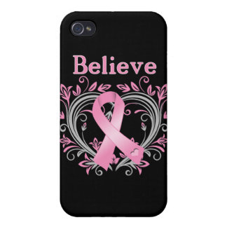 Believe Breast Cancer Awareness Ribbon iPhone 4 Covers
