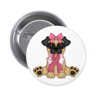 Believe Breast Cancer Awareness Ribbon Pug Pins