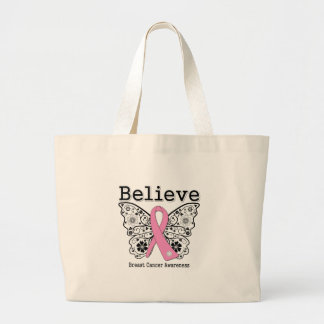 Believe - Breast Cancer Butterfly Tote Bags
