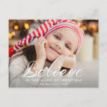 """Believe, brush lettering holiday christmas card<br><div class=""""desc"""">holiday photo design with white brush lettered script,  you can personalize this design by adding your own photo and editing the text</div>"""