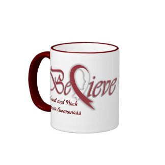 "Believe ""burgundy and white"" ringer coffee mug"