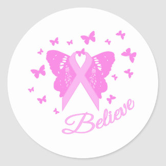 Believe Butterfly Awareness Classic Round Sticker
